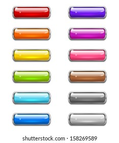 Set of colored shiny buttons in the shapes of rounded rectangle with metal border