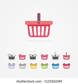 Set of colored shopping basket. Vector illustration