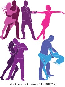 Set colored silhouettes of dancing couples.