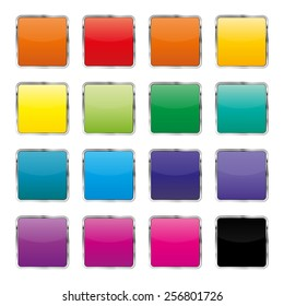 Set of colored square buttons with metal stroke, vector illustration.