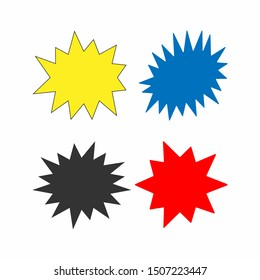 Set of colored starbursts. Collection of isolated vector illustration. Yellow, black, blue, red.