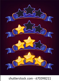 Set of colored stars and ribbons for web site or app graphics and design. Ranking game elements.