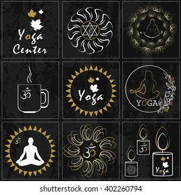Set of colored stickers for yoga and health care. It can be used in the design as a logo or as an illustration and advertising banner