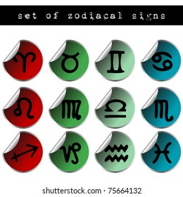 Set of colored stickers with zodiacal signs
