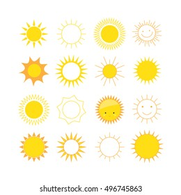Set of colored sun icons
