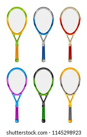 Set of colored tennis rackets on a white background