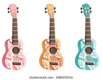 Set colored ukulele. Yellow, green, pigeon, orange, pink, blue colored instrument, decor with flowers. Music instrument.  Rest, hawaii,  melody. Modern vector flat image isolated on white background.