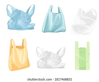 Set of colored used plastic bags flat vector illustration isolated on white background
