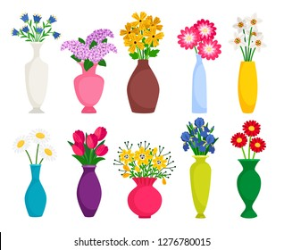 Set of colored vases with blooming flowers for decoration and interior. Chamomile, tulip, poppy and lilac. Vector illustration