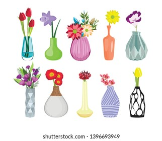 Set of colored vases with blooming flowers for decoration and interior. Tulip, gerbera, iris, apple tree branch, bouquets. Vector illustration