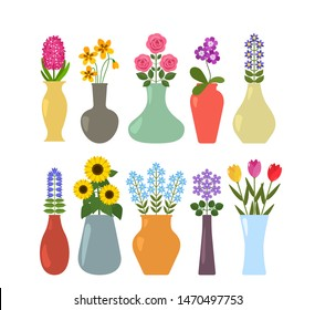 Set of colored vases with blooming flowers for interior design. Abstract and real flowers in flowerpots. flat vector illustration isolated on white background