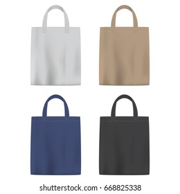 Set of colored vector bags with handle, isolated on white