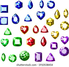 Set of colored vector gems