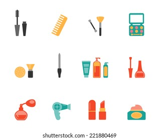 Set of colored vector hairstyling and makeup flat icons showing mascara  comb  hairdryer  perfume  lipstick  nail varnish  containers  brushes  compact  eye-shadow and blusher