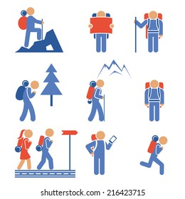 Set of colored vector hiking icons showing a mountaineer  backpacker  hiker  nordic walker  forest  mountain  frontal and side views