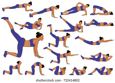 Set of colored vector silhouettes of woman practicing fitness exercises down on the floor in horizontal position. Slim girl doing sport workout.