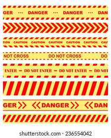 Set of colored warning, danger and chevron ribbons or tape restricting entry in orange and yellow