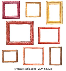 Set of colored watercolor frames with wood texture.
