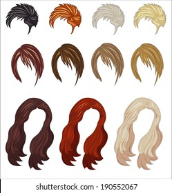 set of colored women's wigs