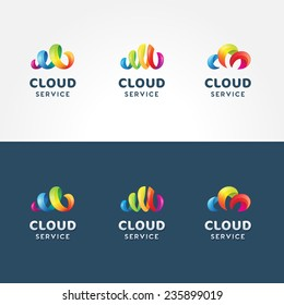 Set of colorful 3d iconic logo templates for cloud service | Collection of vector cloud icons isolated on both white and blue background