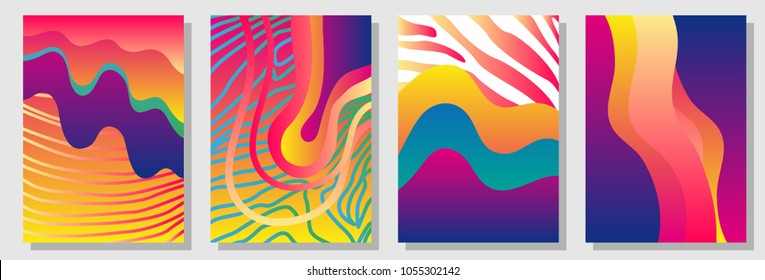 Set of colorful A4 covers with fluid shapes and zebra stripes. Template for books, cards, banners, posters. Minimalistic design with color gradients. Rainbow shades palette on white background.