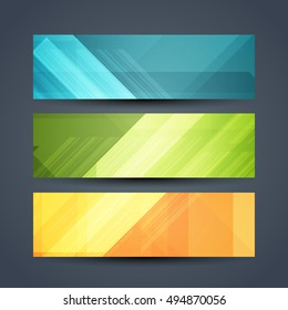 Set of colorful abstract beautiful web header designs.