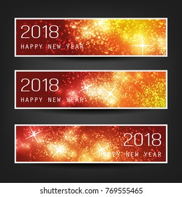 Set of Colorful Abstract Horizontal New Year Headers Banners for Year 2018 - Vector Design