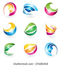 Set of colorful abstract vector design elements