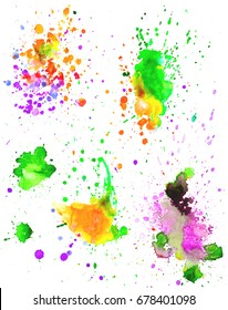 Set of colorful abstract watercolor texture stains with splashes and spatters. Modern creative watercolor background for trendy design.