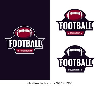Set of colorful american football logo labels. Vector illustration.