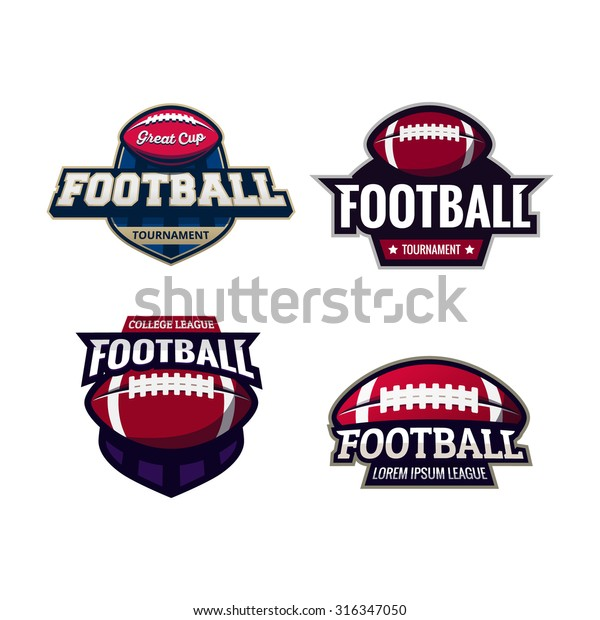Set of Colorful american football tournament challenge logo labels on shield. Vector isolated sport logo design illustration