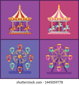Set of colorful amusement park rides. Carousel and ferris wheel at night flat illustration.