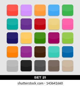 Set Of Colorful App Icon Templates, Frames, Backgrounds. Set 21. Vector