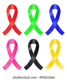 Set of colorful awareness ribbon (red, green, blue, pink, black, gold)