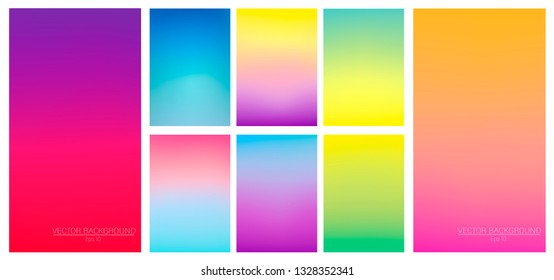 Set of colorful backgrounds for smartphone. Soft color gradients. Modern display themes. Template design for mobile app.
