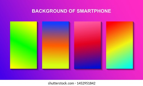 Set of colorful backgrounds for smartphone. Template design for mobile app, ui, design theme. Soft color background on dark. Modern screen vector design for mobile app. Soft color abstract gradients.