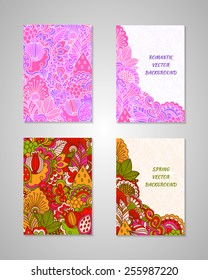 Set of colorful backgrounds in spring and romantic style. Floral elements. Templates for flyers and cards.