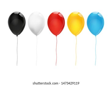 Set of colorful balloons, black, white, red, yellow, blue on a white background, for design and advertising.