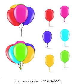 Set of colorful balloons on white background. Vector illustration. EPS10.