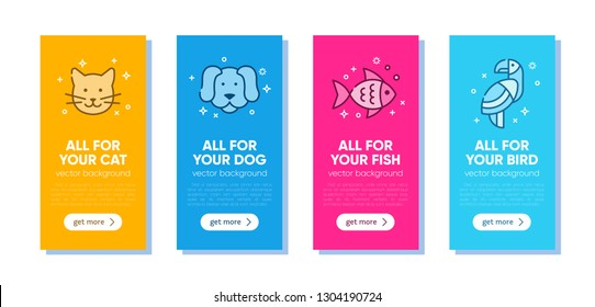 Set of colorful banner template for pet shop, veterinary clinic, pet store, zoo, shelter. Card, flyer, banner, poster for advertisement. Flat style design, vector illustration.