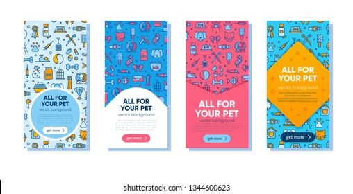 Set of colorful banner template for pet shop, veterinary clinic, pet store, zoo, shelter. Card, flyer, banner, poster for advertisement with outline pattern. Flat style design, vector illustration.