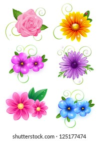 Set of colorful banners with flowers. Easy to edit. Perfect for invitations or announcements.