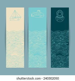 Set of the colorful banners with nautical design elements in doodle style on the marine background