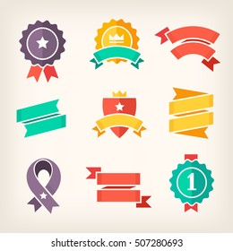 Set of colorful banners for promoting products on sale. Isolated vector ribbons and paper banners.