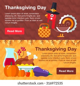 Set of colorful banners for thanksgiving day consists of traditional holiday symbols, Cartoon turkey, traditional meals and vegetables.