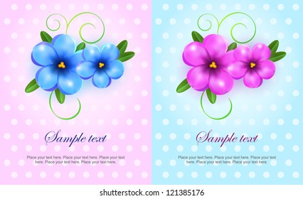 Set of colorful banners with violet and blue flowers. Easy to edit. Perfect for invitations or announcements.