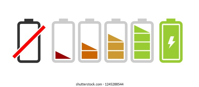 Set of colorful battery vector icons with charge capacity from full to empty
