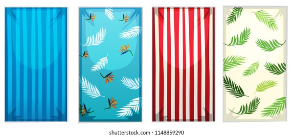 Set of colorful beach towels illustration