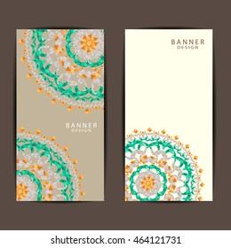 Set of colorful Beautiful mandala  ornament banners design