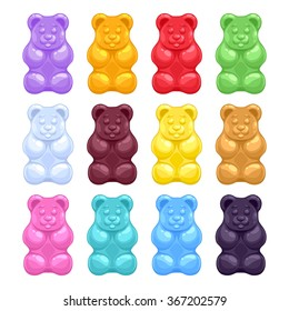 Set of colorful beautiful realistic jelly gummy bears. Sweet candy food. Strawberry vanilla caramel cola menthol lemon orange flavors. Vector illustration.